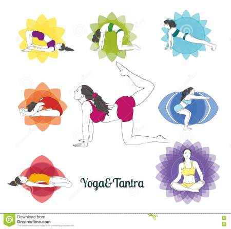 colored-yoga-poses-chakras-set-hand-drawn-image-collection-asanas-71522278